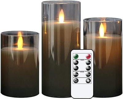 GenSwin LED Flameless Flickering Battery Operated Candles (Set of 3)