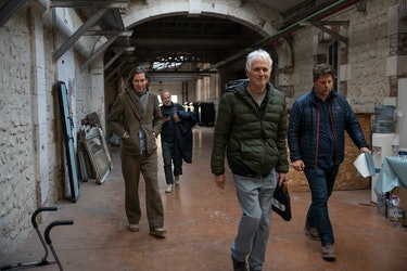 Wes Anderson, cinematographer Robert Yeoman, production designer Adam Stockhausen, and producer Jere...