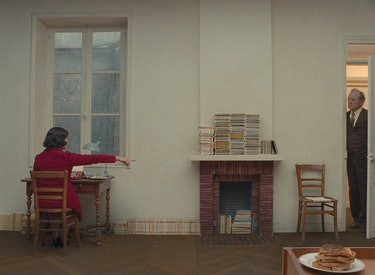 McDormand's character has a relatively spare office, punctuated by stacks of books, toast, and a per...