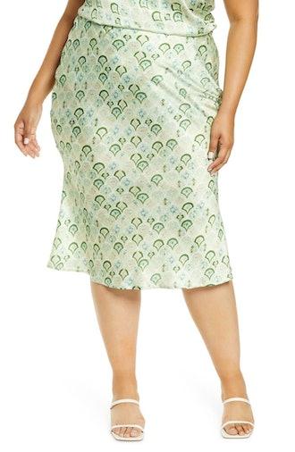 Marble Print Slip Skirt