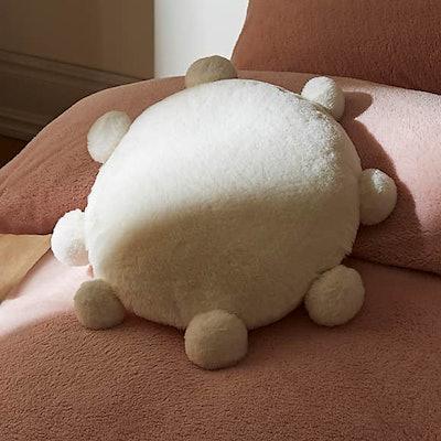 Pom Faux Fur Round White Cushion