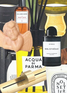 a collage of luxurious candles, room sprays and incense sticks