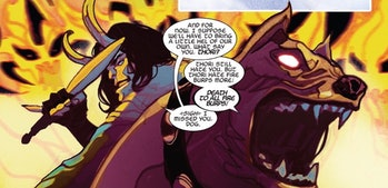 Loki and Thori dealing out destruction together in Thor Vol. 5 #4