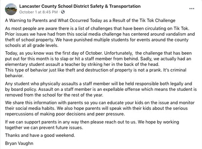 Lancaster County School District released a statement about a teacher who had been assaulted as a re...