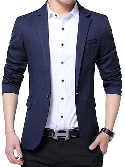 Men's Slim Fit One Button Casual Blazer Jacket