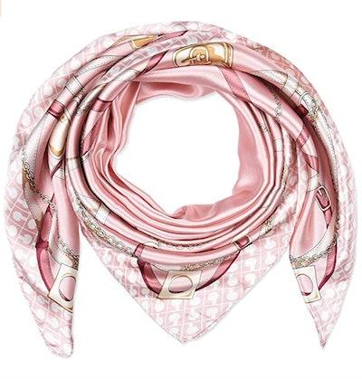 Corciova Pink Square Stain Silk Scarf