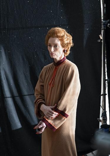 Tilda Swinton, on set.