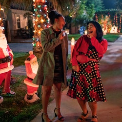 Sierra Capri as Monsé Finnie and Jessica Marie Garcia as Jasmine Flores in 'On My Block' Season 4 vi...