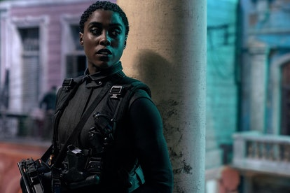 A still from No Time to Die with British actor Lashana Lynch as a 00 agent.