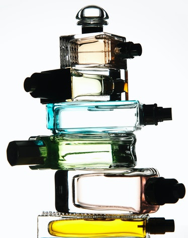 fragrance bottles stacked up