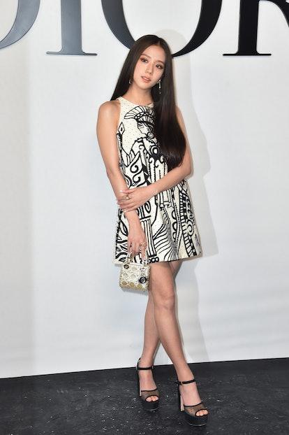Singer Kim Ji-soo aka Jisoo from the band Blackpink attends the Dior Womenswear Spring/Summer 2022 s...