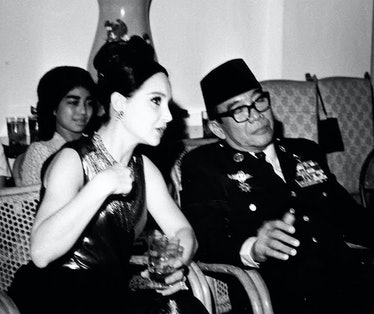 Adams with Sukarno, the president of Indonesia.