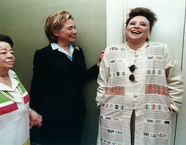 Adams with then First Lady Hillary Clinton.