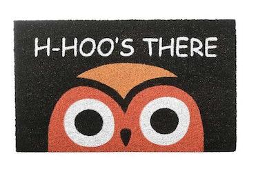 These Halloween doormats include a cute orange owl design.