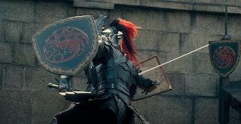 Targaryen knight fighting in House of the Dragon trailer
