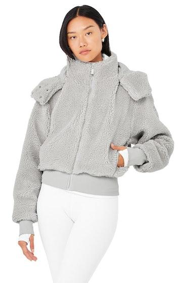 Dark grey Foxy sherpa jacket from Alo Yoga.