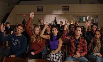The cast of 'Riverdale' reunite during Season 5 of the series.