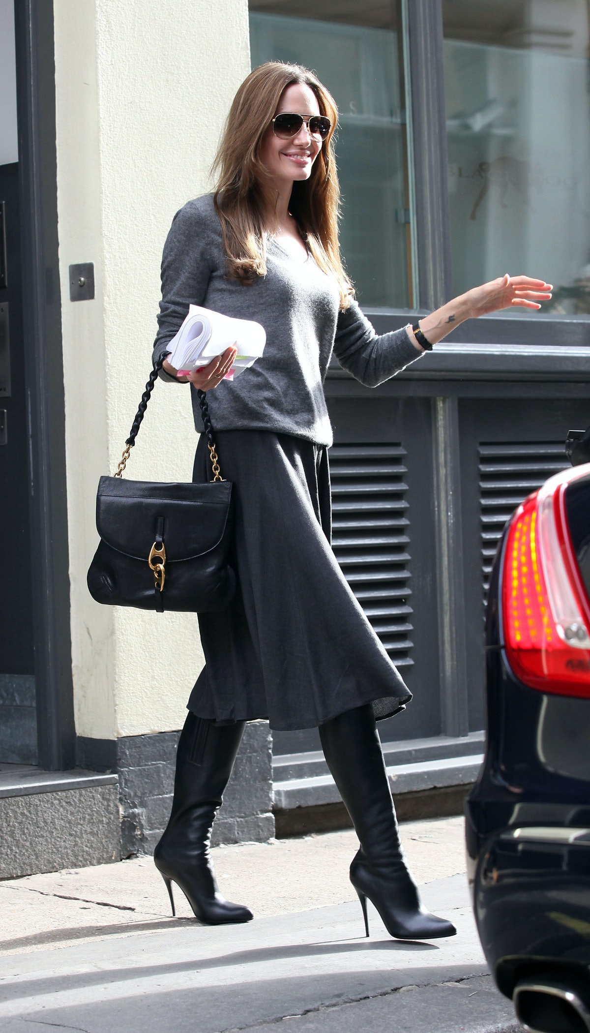 Angelina Jolie seen leaving a studio in Soho