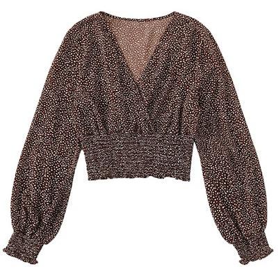 LYANER V-Neck Shirred Long Sleeve Cropped Blouse