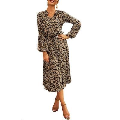 KIRUNDO Leopard Long Sleeve Drawstring Belt A-Line Dress