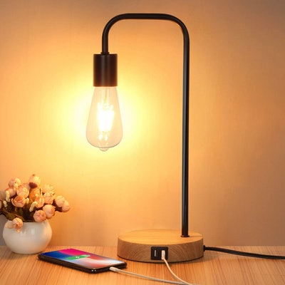Mlambert Dimmable Lamp with Two USB Charging Ports