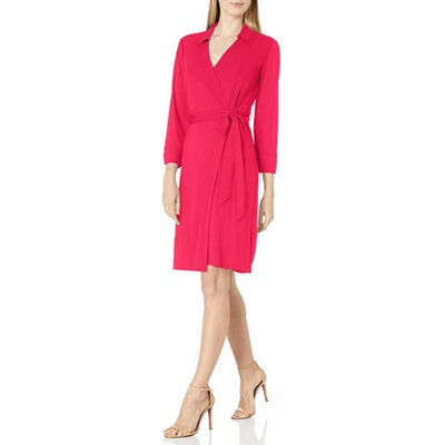 Lark & Ro Collared Long Sleeve Wrap Dress