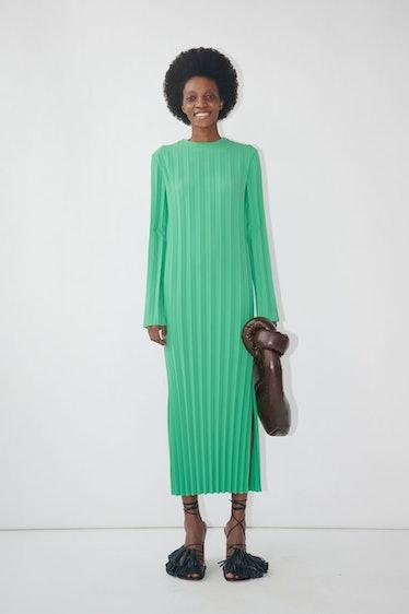 Pleated Longsleeve Midi Dress