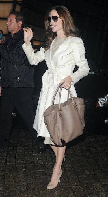 Angelina Jolie arrives at the Charlie Rose show