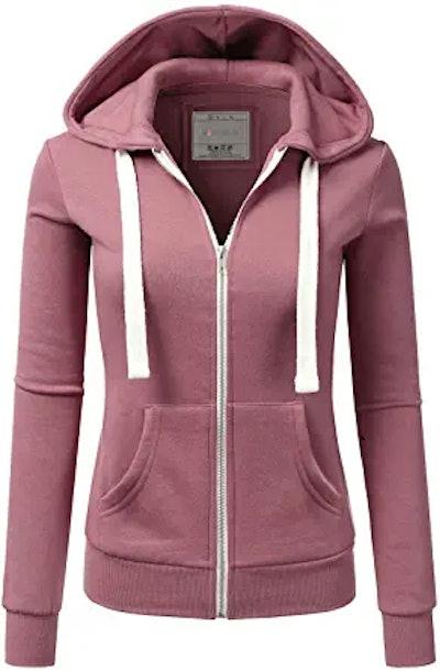 Doublju Lightweight Thin Zip-Up Hoodie Jacket