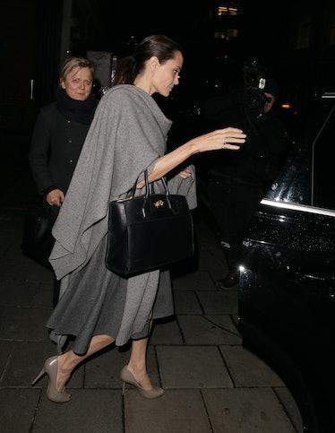 Angelina Jolie leaving Quaglinos restaurant