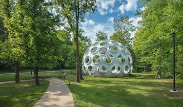 R. Buckminster Fuller's Fly's Eye Dome in a grassy meadow