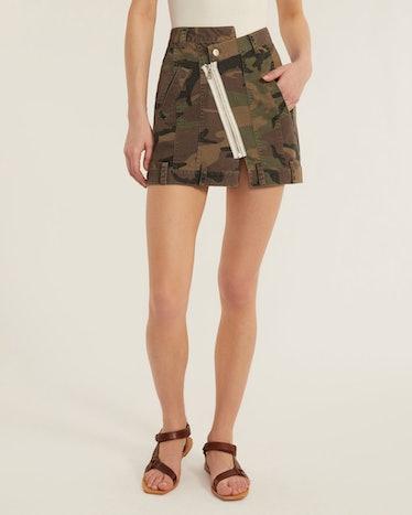 Eliza Canvas Zip Front Camo Skirt from Marissa Webb.