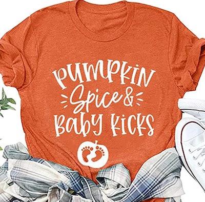 Pumpkin Spice and Baby Kicks Thanksgiving Maternity Shirt
