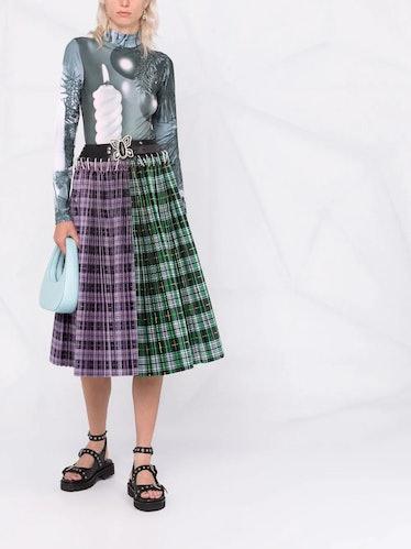 Split Checked Pleated Skirt