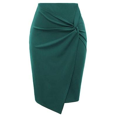 Kate Kasin Elastic Waist Wrap Front Pencil Skirt