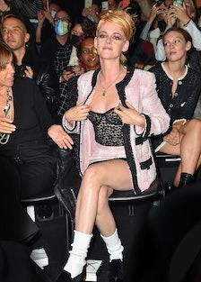 Kristen Stewart in pink chanel set.