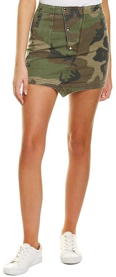 Asymmetric camo print mini skirt from RtA, available to shop on Gilt.