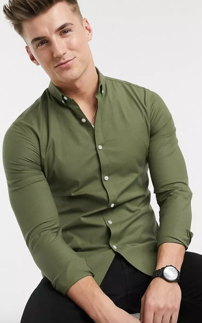 Long Sleeve Muscle Fit Oxford Shirt
