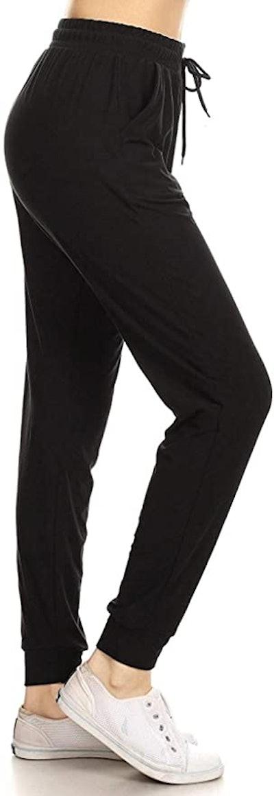 Leggings Depot Women's Printed Solid Activewear Joggers