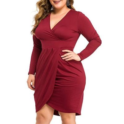 LAOLASI Plus Size Long Sleeve Faux Wrap Dress