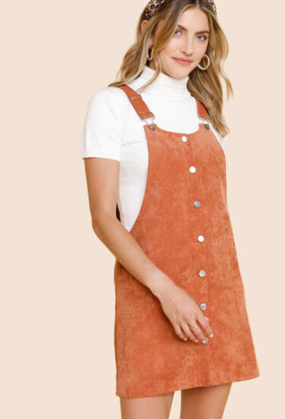 Sia Button Front Corduroy Overall Dress