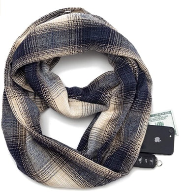 Seven Flowers Infinity Scarf With Zipper Pocket