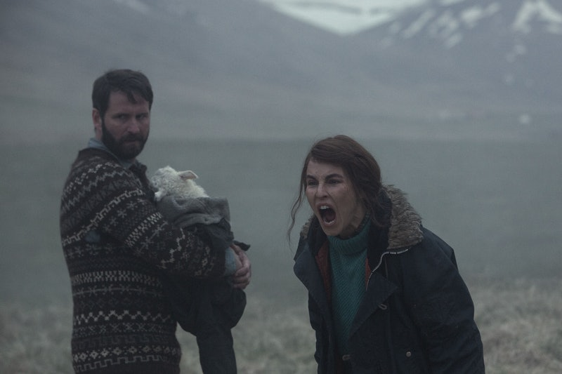 (L-R) Hilmir Snær Guðnason as Ingvar and Noomi Repace as Maria in A24's 'Lamb' (2021). Photo courtes...