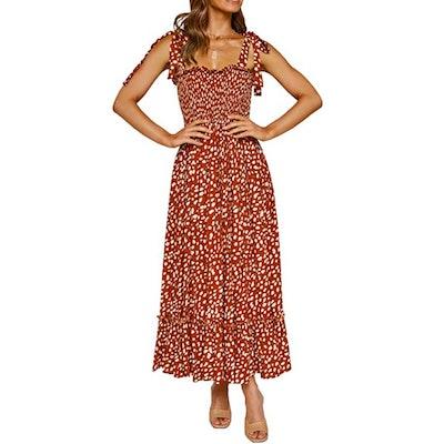 R.Vivimos Smocked Tie Shoulder Midi Dress