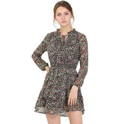 Allegra K Floral Smocked Waist High Neck Chiffon Mini Dress