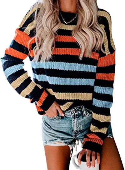 KIRUNDO Stripe Color Block Short Sweater