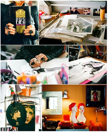 Barbara Hulanicki, in her Miami studio with photos, sketches, trinkets, and a copy of her book From ...