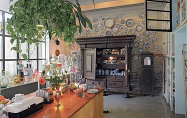 a rustic kitchen filled with a collection of glassware and delft blue plates, with a plant hanging f...