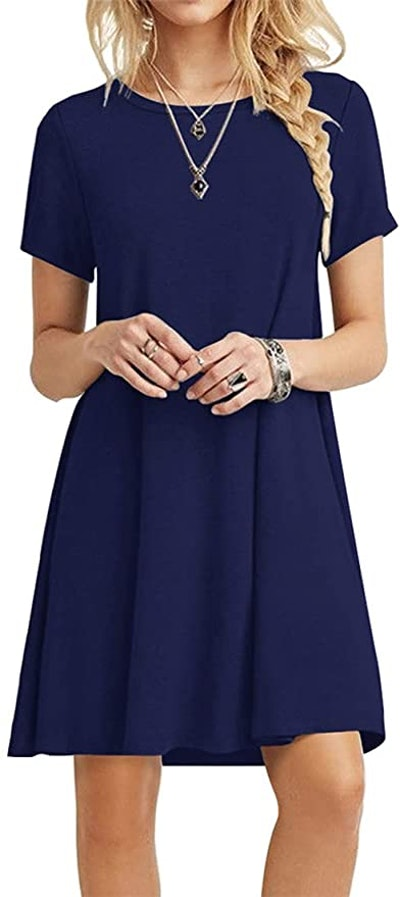 POPYOUNG Summer Casual Tshirt Dresses