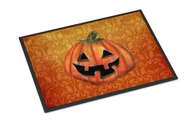 These spooky Halloween doormats include classic pumpkin designs.
